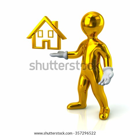 Cartoon character golden man presenting house on white background - stock photo