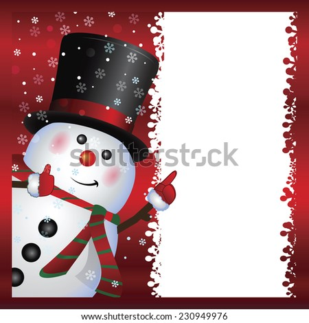 Cartoon character happy snowman with blank banner, Christmas and New Year greeting card, winter background