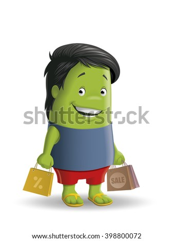 Cartoon character holding shopping bags - stock photo