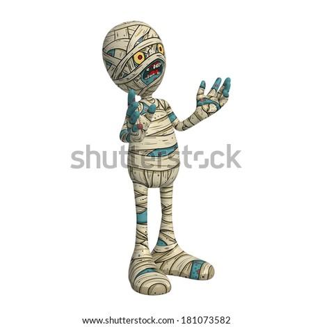Cartoon character illustration of Scary Mummy Monster for Halloween explaining something - stock photo