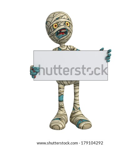 Cartoon character illustration of Scary Mummy Monster for Halloween holding sign or placard - stock photo