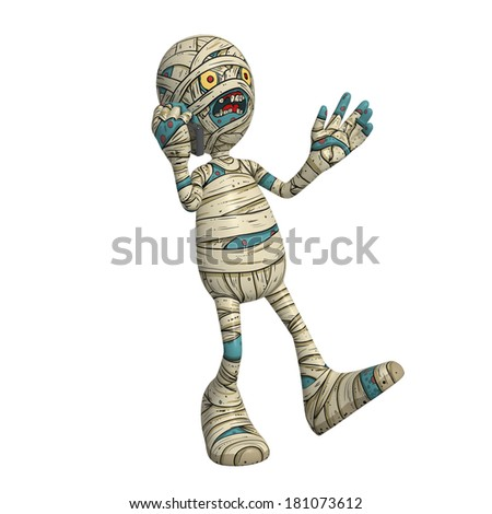 Cartoon character illustration of Scary Mummy Monster for Halloween walking while talking on phone or mobile - stock photo