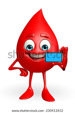 Cartoon Character of Blood Drop with mobile  - stock photo