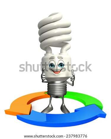 Cartoon Character of CFL with arrow - stock photo