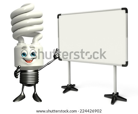 Cartoon Character of CFL with display board - stock photo