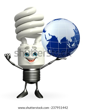 Cartoon Character of CFL with globe - stock photo