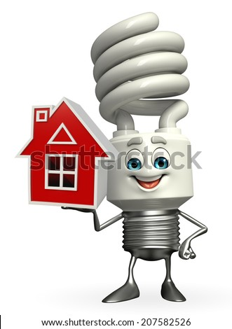 Cartoon Character of CFL with home - stock photo