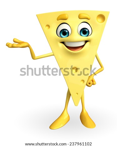 Cartoon Character of Cheese with holding pose