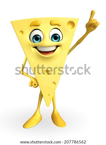 Cartoon Character of Cheese with pointing pose
