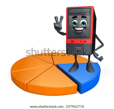 Cartoon Character of Computer Cabinet with business graph  - stock photo