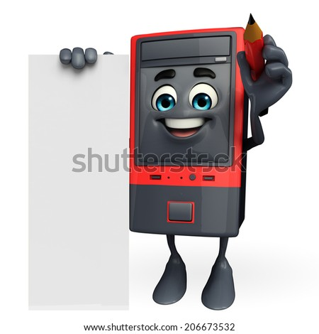 Cartoon Character of Computer Cabinet with sign - stock photo