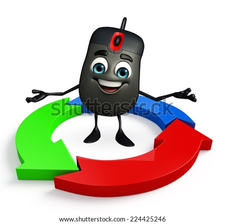 Cartoon Character of Computer Mouse with Arrow - stock photo