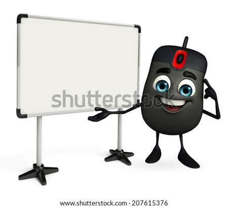 Cartoon Character of Computer Mouse with display board - stock photo