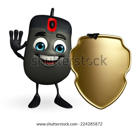 Cartoon Character of Computer Mouse with shield - stock photo