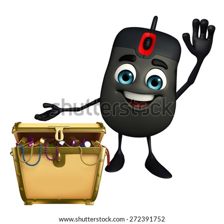 Cartoon Character of Computer Mouse with treasure box - stock photo