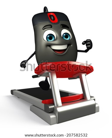 Cartoon Character of Computer Mouse with walking machine - stock photo