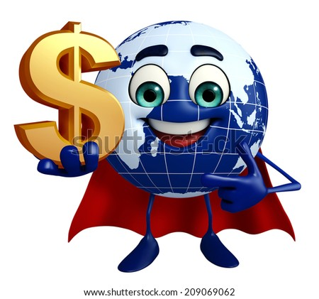 Cartoon Character of Earth with dollar sign - stock photo