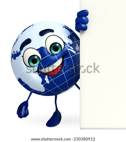 Cartoon Character of Earth with sign