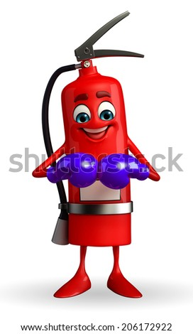 Cartoon Character of fire extinguisher with boxing gloves - stock photo