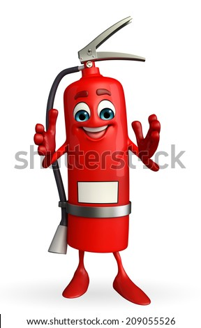 Cartoon Character of fire extinguisher with clapping pose - stock photo