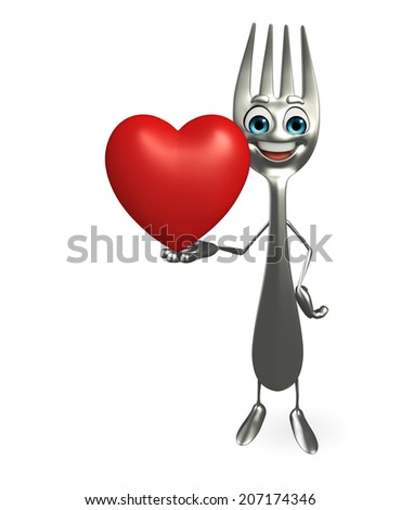 Cartoon character of fork with red heart - stock photo