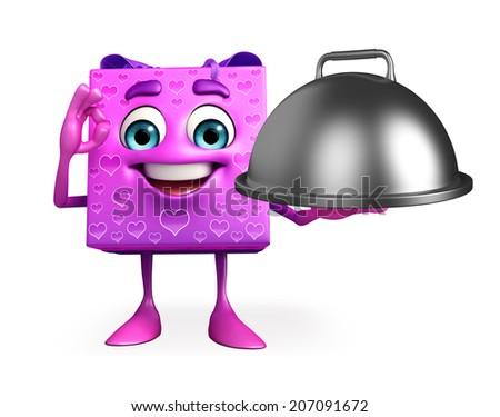 Cartoon Character of gift box with dish pot - stock photo