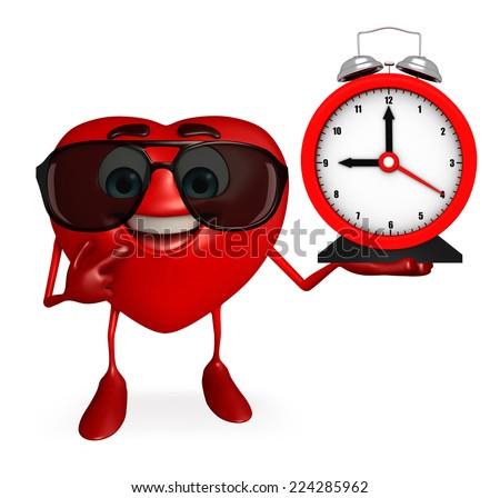 Cartoon Character of heart shape with clock - stock photo