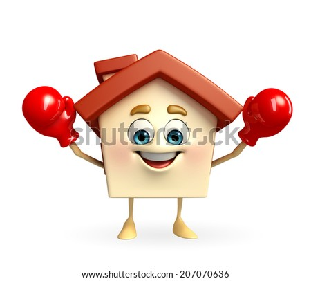 Cartoon Character of house with boxing gloves - stock photo