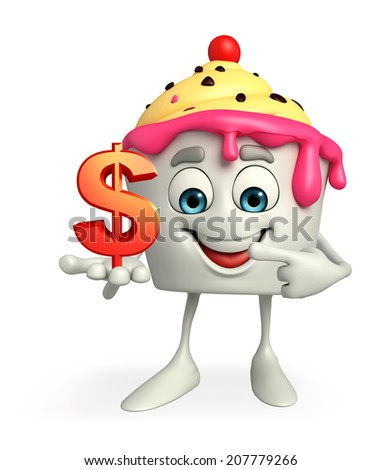 Cartoon Character of Ice Cream with dollar sign