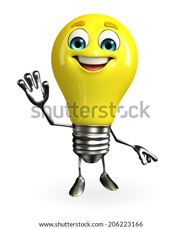 Cartoon Character of light bulb with hello pose - stock photo