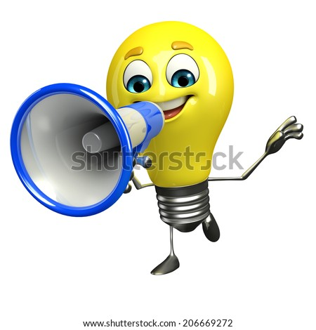 Cartoon Character of light bulb with loudspeaker - stock photo