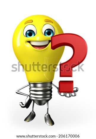 Cartoon Character of light bulb with question mark - stock photo