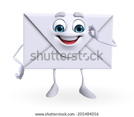 Cartoon Character of mail is happy  - stock photo