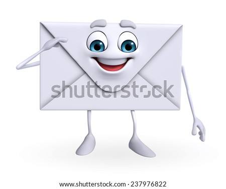 Cartoon Character of mail is Salute    - stock photo