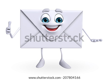 Cartoon Character of mail is thumbs up - stock photo