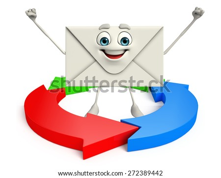 Cartoon Character of mail with arrow - stock photo