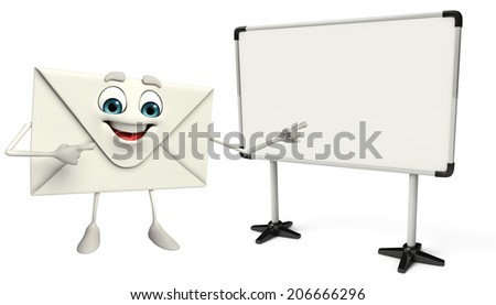 Cartoon Character of mail with display board - stock photo