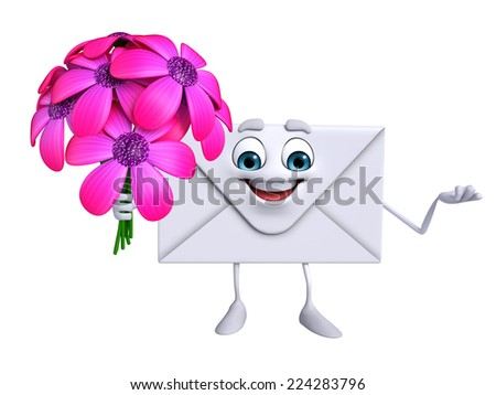 Cartoon Character of mail with flowers - stock photo