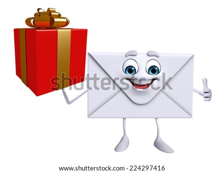 Cartoon Character of mail with gift box - stock photo