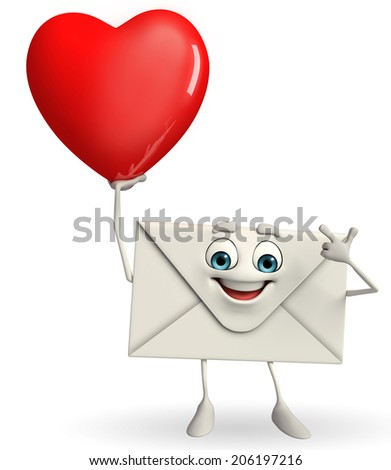 Cartoon Character of mail with red heart - stock photo