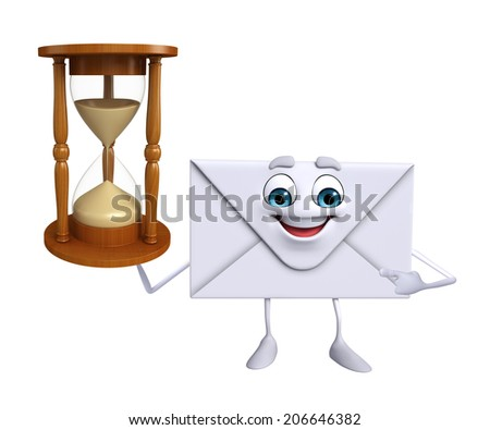Cartoon Character of mail with sand clock - stock photo