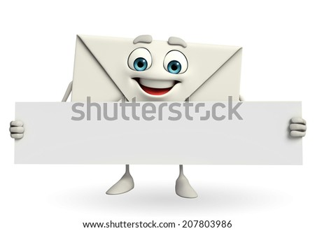 Cartoon Character of mail with sign - stock photo