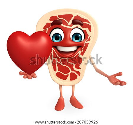 Cartoon Character of meat steak with red heart