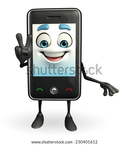 Cartoon Character of Mobile is Victory sign
