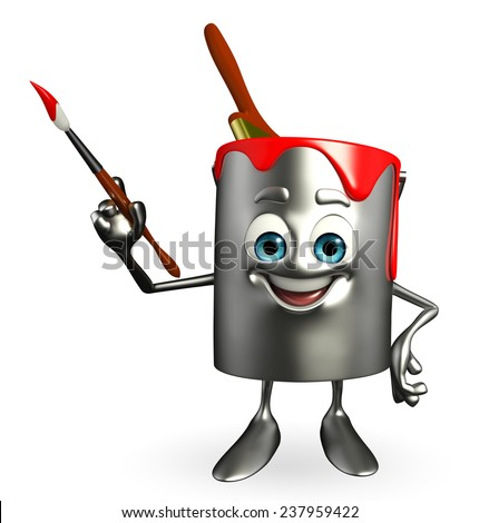 Cartoon Character of paint bucket with paint brush  - stock photo