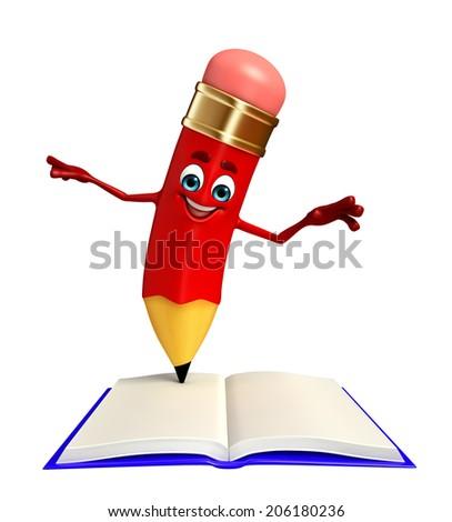 Cartoon character of pencil - stock photo