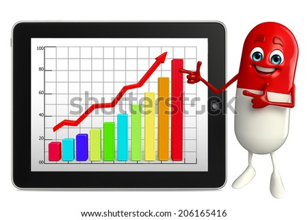 Cartoon character of pill with business graph - stock photo