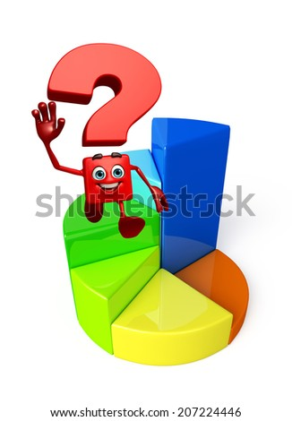 Cartoon Character of Question Mark with business graph