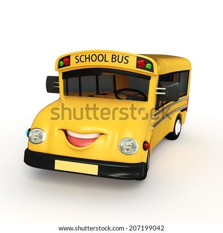 Cartoon Character of school van  - stock photo