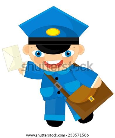 Cartoon character - postman - illustration for the children - stock photo
